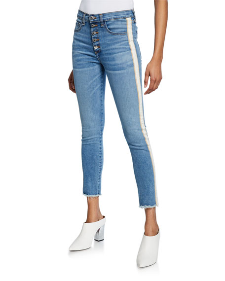 Veronica Beard Jeans CARLY KICK FLARE JEANS WITH TUXEDO STRIPES