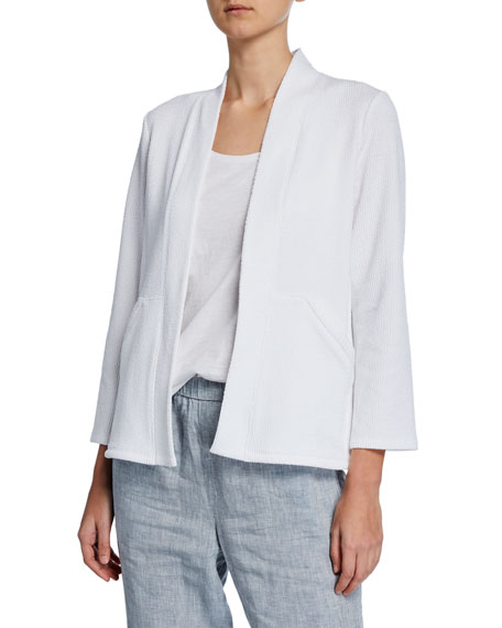 Eileen Fisher Open-Front Pucker Knit Kimono Short Jacket