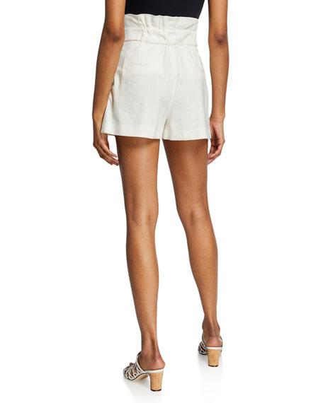 Veronica Beard Gwen High-Rise Linen Paperbag Shorts