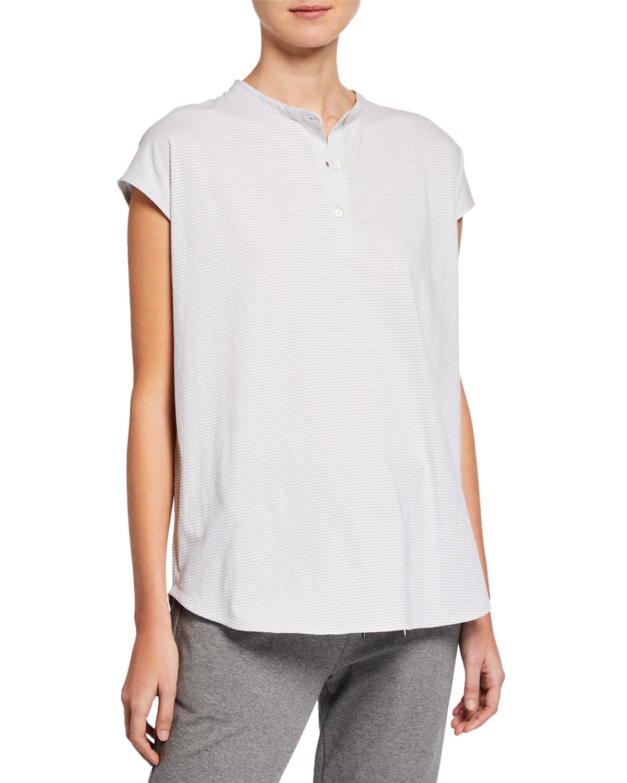 3d292a92c24 Eileen Fisher Ministripe Mandarin-Collar Tunic Tee | Neiman Marcus