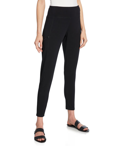 Eileen Fisher Pants COTTON JERSEY ZIP-TRIM LEGGINGS