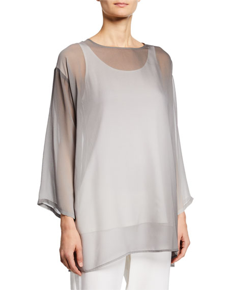 Eileen Fisher Petite Watercolor Sheer Long-Sleeve Tunic