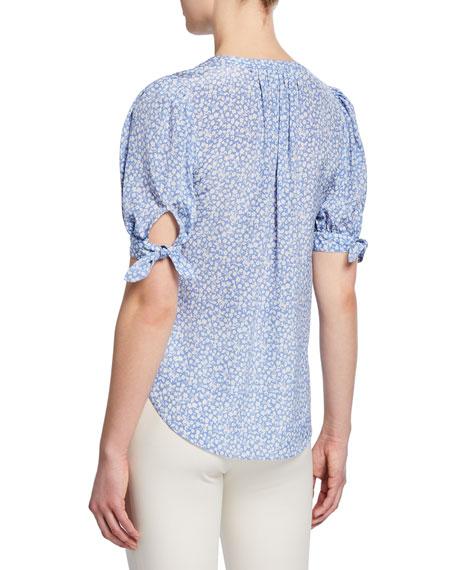 Veronica Beard Gizela Floral-Print Button-Front Puff-Sleeve Silk Blouse