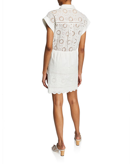 Veronica Beard Bettina Eyelet Tie-Front Short-Sleeve Dress