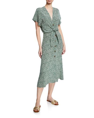 Giana Floral-Print Short-Sleeve Silk Dress