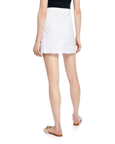 Veronica Beard Getty Button-Front Denim Cargo Skirt