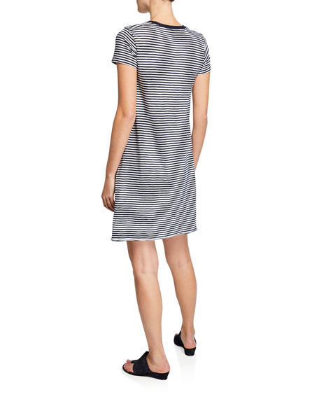 ATM Anthony Thomas Melillo Striped Jersey Short-Sleeve Tee Dress