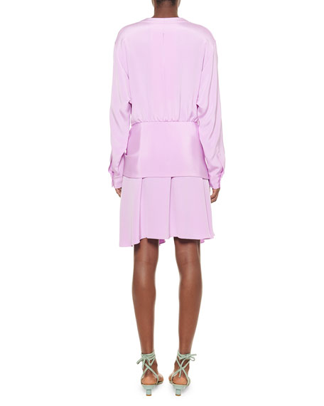 Tibi Silk Draped Faux-Wrap Dress