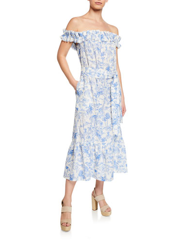 Printed Off-the-Shoulder Ruffle Midi Dress