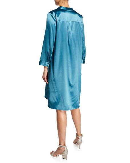 Eileen Fisher Mandarin-Collar 3/4-Sleeve Silk Charmeuse Shirtdress