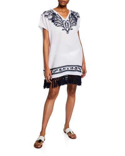 V-Neck Embroidered Beach Caftan w/ Tassel Hem
