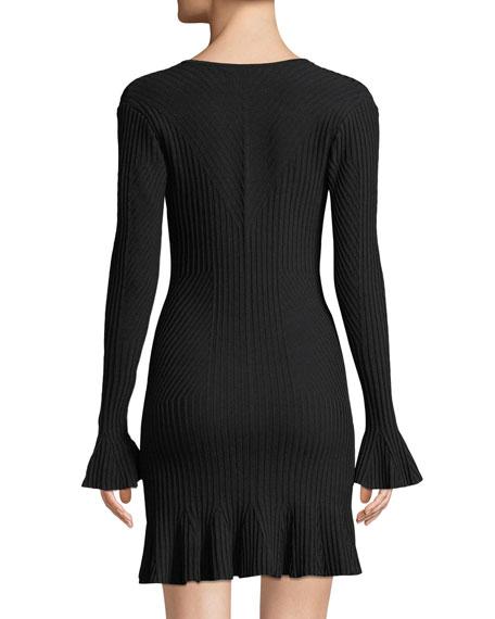 Jonathan Simkhai Ribbed V-Neck Long-Sleeve Mini Dress