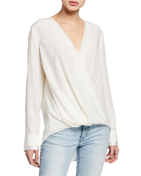 Rag & Bone Victor Draped Surplice Long-Sleeve Blouse