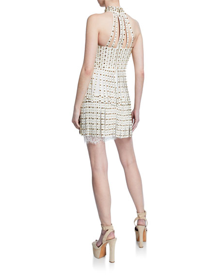 Image 2 of 2: Maddie Studded Leather Fringe Dress