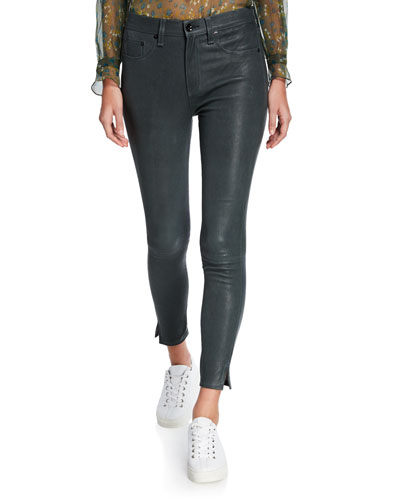 High-Rise Ankle Skinny Leather Pants