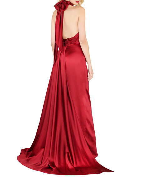 Image 2 of 2: Mac Duggal Satin Halter Gown with Keyhole & High Slit
