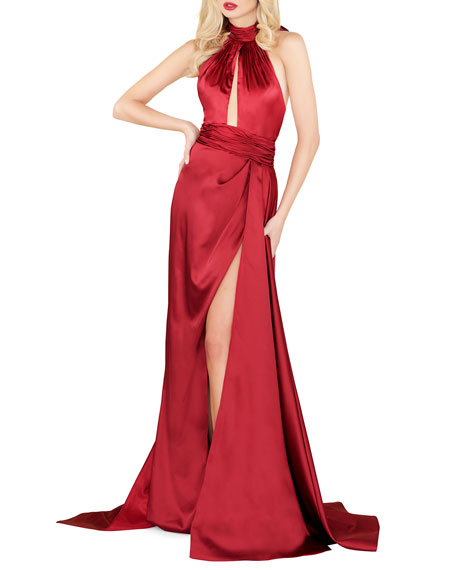 Image 1 of 2: Mac Duggal Satin Halter Gown with Keyhole & High Slit