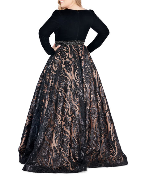 Mac Duggal 6-Week Shipping Lead Time Plus Size Velvet Plunge-Neck Long-Sleeve Ball Gown with Sequined Skirt