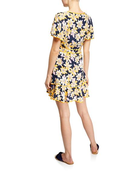 cinq a sept Cameron Floral Silk Flounce Short Dress