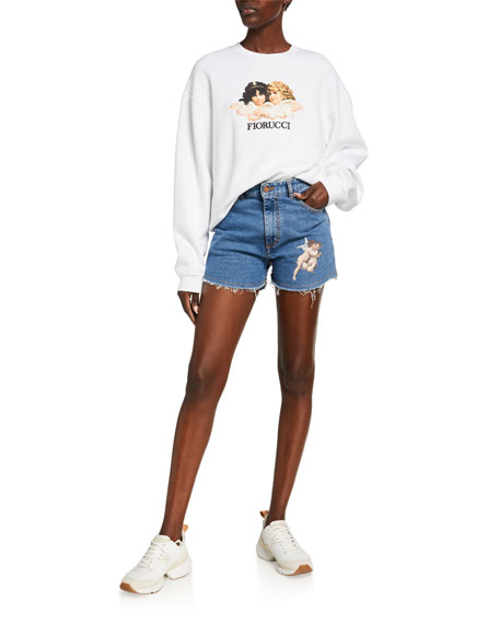 Fiorucci Tara Cutoff Denim Shorts with Angel Tattoo Patch