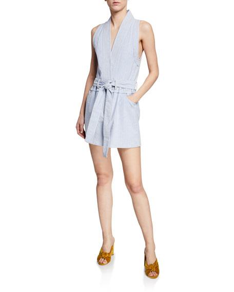 Derek Lam 10 Crosby Striped Sleeveless Belted Vest Dress