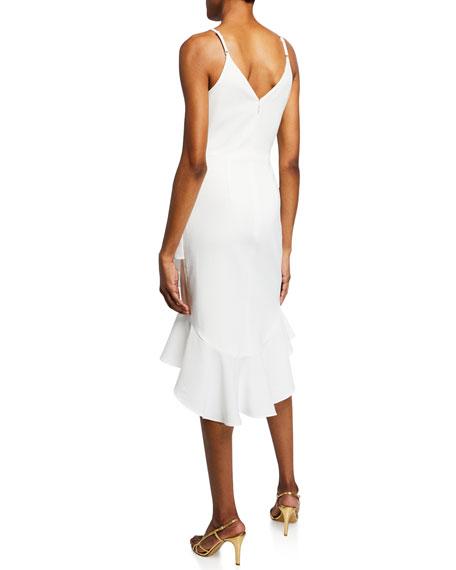 Dress The Population Wendy V-Neck Spaghetti-Strap Crepe High-Low Midi Dress