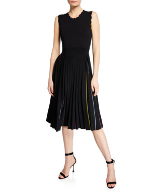 328b0e971fa1 kate spade new york crewneck sleeveless pleated sweater dress