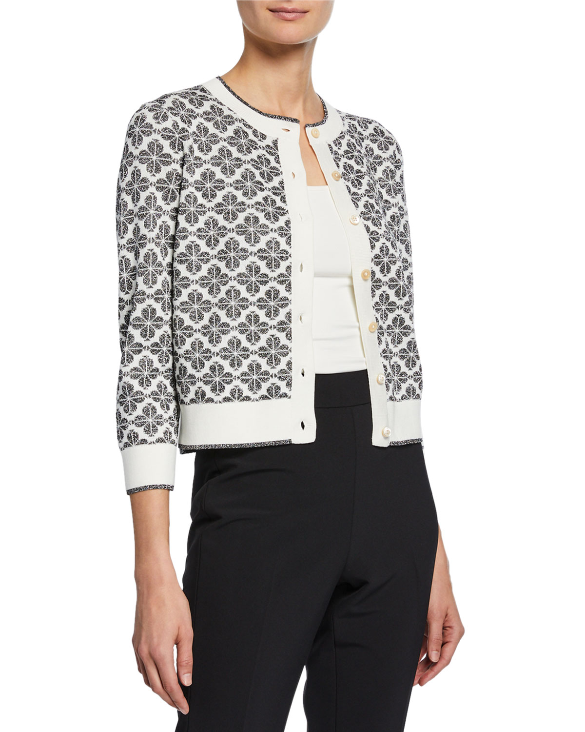 5d534e3f67 kate spade new york floral spade button-front 3 4-sleeve cardigan ...