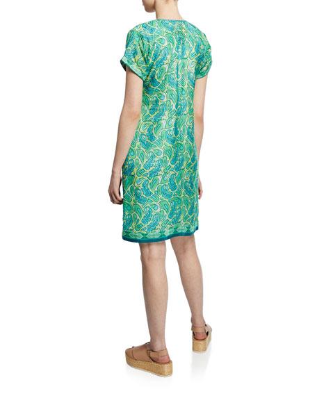 Bella Tu Abby Cap-Sleeve Shift Dress with Hand-Beaded Detail