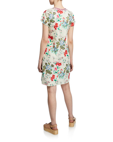 Bella Tu Fleur Floral-Print Cap-Sleeve Shift Dress