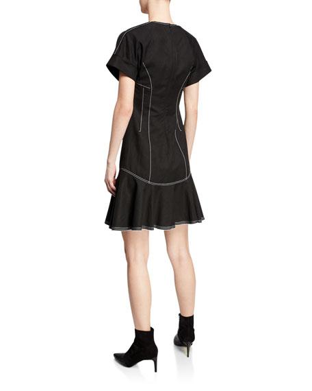 Derek Lam 10 Crosby Surplice-Neck Short-Sleeve Faux-Wrap Dress w/ Topstitch Details