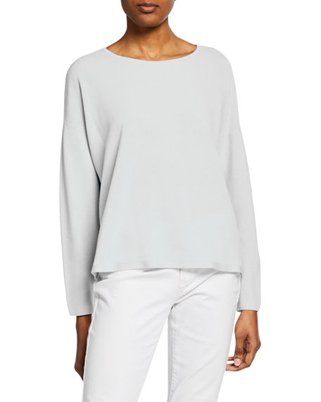 Image 1 of 2: Eileen Fisher Plus Size Jewel-Neck Long-Sleeve Top
