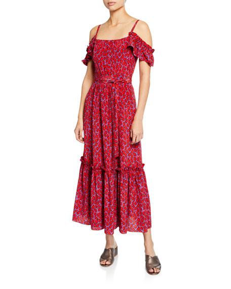 Derek Lam 10 Crosby Cold-Shoulder Printed Cami Dress with Ruffle Hem