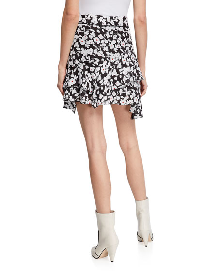 Derek Lam 10 Crosby Tiered Ruffle Floral Asymmetrical Mini Skirt