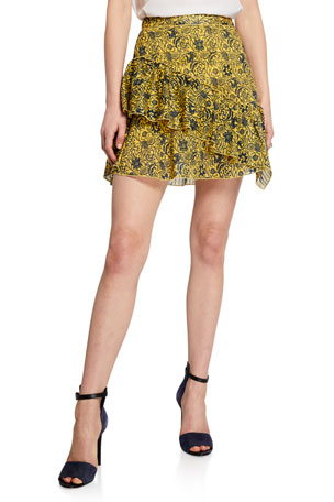 Derek Lam 10 Crosby Asymmetrical Ruffle Tulip Mini Skirt