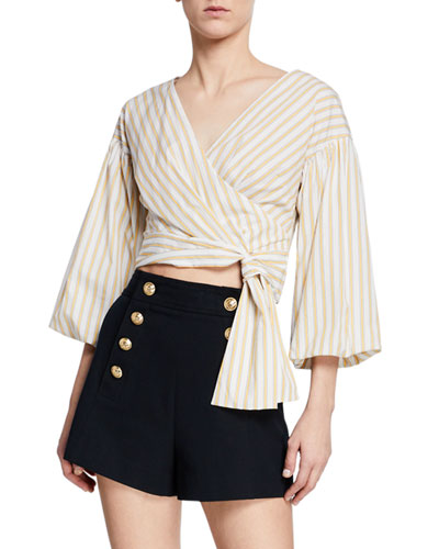 Striped Bell-Sleeve Cropped Tie-Waist Blouse