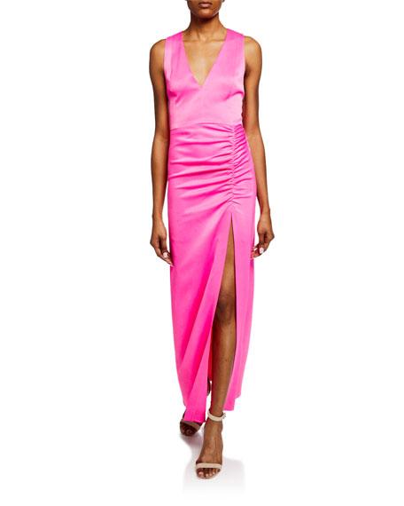 Alice + Olivia Diana Racerback V-Neck High-Slit Column Gown