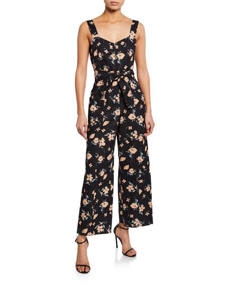 Rebecca Taylor Daniella Floral-Print Sweetheart Sleeveless Jumpsuit