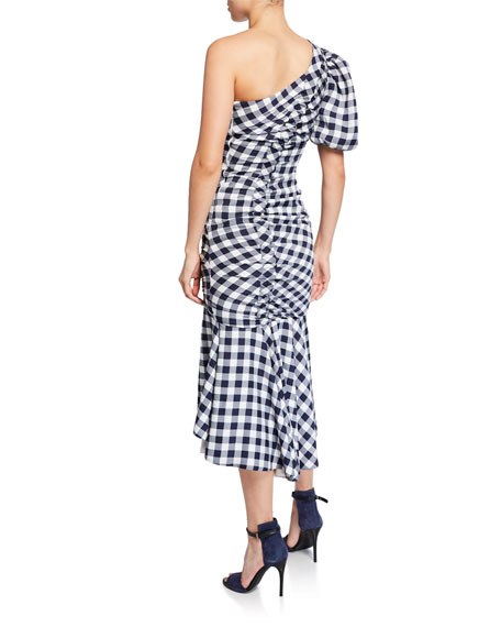 Jonathan Simkhai Lux Twill One-Shoulder Gingham Dress