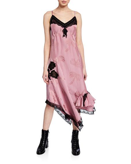 Coach Palm Tree Jacquard Slip Dress w/ Lace