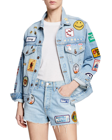 Re/Done Embellished Distressed Denim Jacket by Re/Done