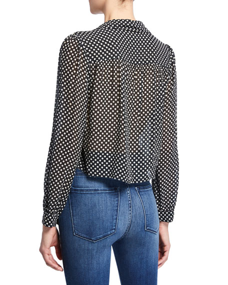 RE/DONE 60s Polka-Dot Collared Cropped Silk Blouse