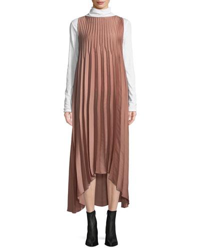 Pleated Self-Tie High-Low Midi Dress