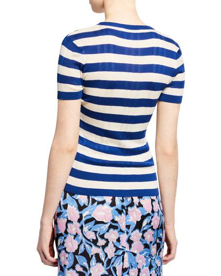 Christian Wijnants Kaz Striped Short-Sleeve Ribbed T-Shirt