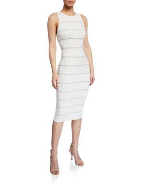 14c587a1f874 Alice + Olivia Slim Crewneck Lace-Inset Dress