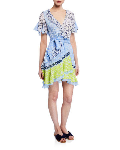 Tanya Taylor Bianka Ruffled Mix Print Dress