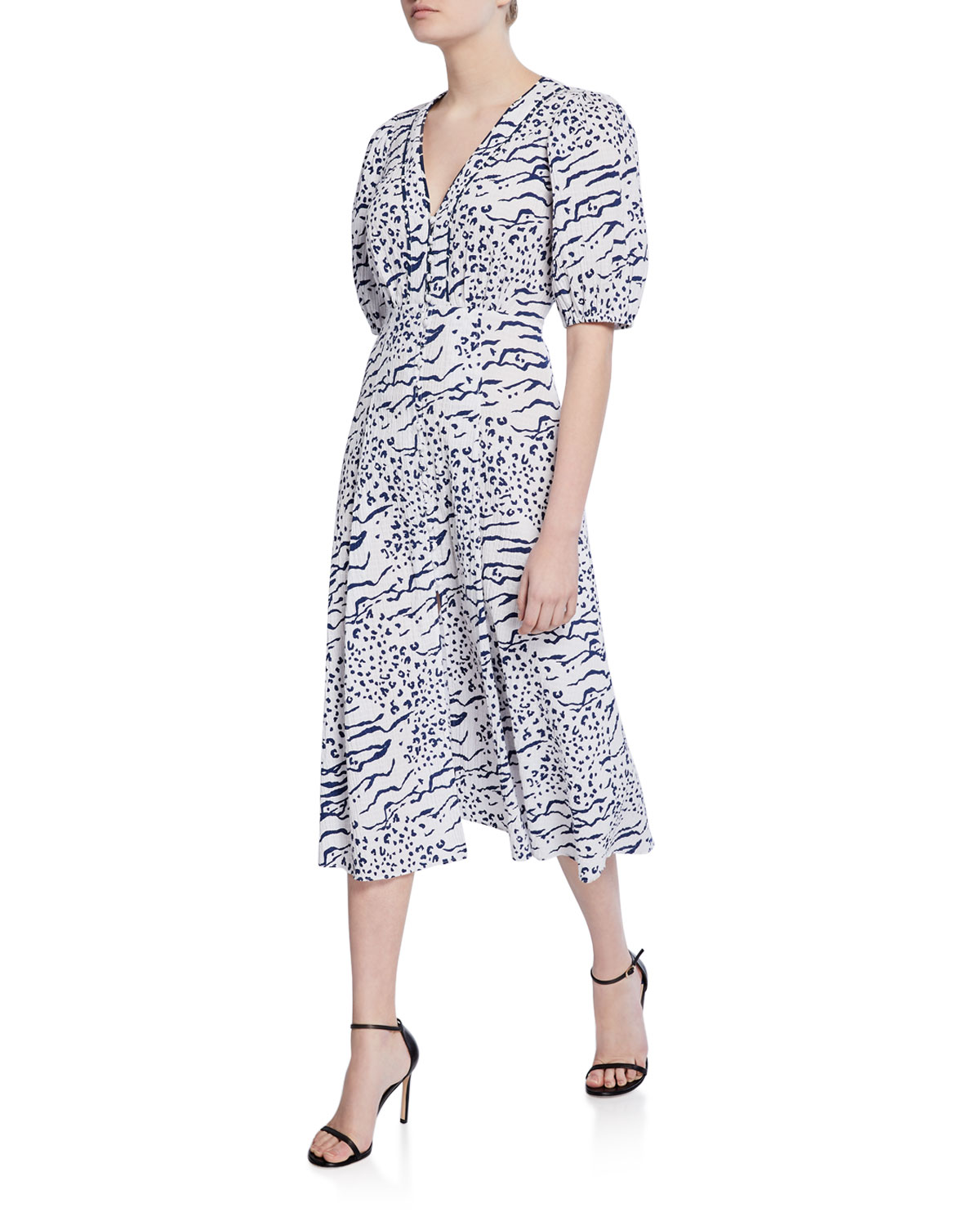 Ariela Printed Button Front Midi Dress by Tanya Taylor