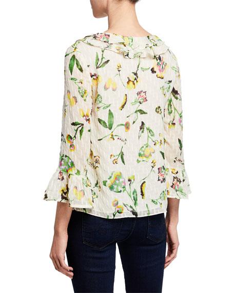 Tanya Taylor Alexa Floral-Print Ruffle Top