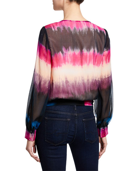 Tanya Taylor Klara Tie-Dye Long-Sleeve Silk Top