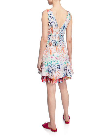 Tanya Taylor Eva Pleated Floral Sleeveless Flounce Dress